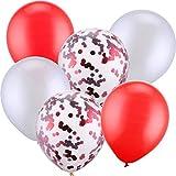 Verschiedene Farben: Enthält 10 Stück weiße Ballons, 10 Stück rote Ballons und 10 Stück rote Konfetti-Ballons, 30 Stück insgesamt Material: Diese verdickten Ballons sind aus strapazierfähigem Latex, sie können im aufgeblasenen Zustand 30,5 cm im Durc...