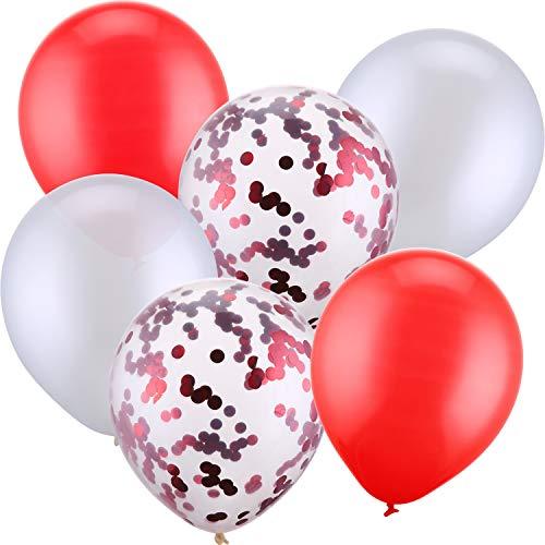 Jovitec 30 Pezzi 12 Pollici Palloncini in Lattice Palloncini di Coriandoli per Matrimonio Compleanno Festa Decorazione (Bianco e Rosso)