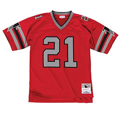 Mitchell&Ness M&N Maglia retrò da Uomo NFL Legacy con Adesivo da 7kmh A.Falcons D.Sanders M