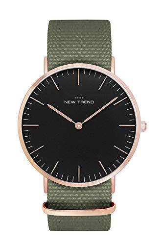 New Trend Unisex Armbanduhr Schwarz Damen-Uhr Herren-Uhr, Analog Uhr, Quarz-Uhr, Leder-Armband, Nylon-Armband, NATO-Armband, Metall-Armband, Edelstahl-Armband (Braun)
