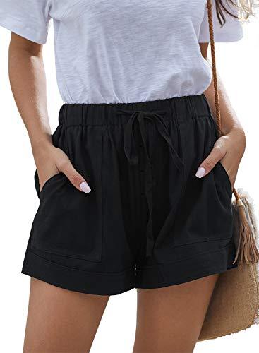 ANFTFH Women Summer Casual Cotton Linen Shorts Loose Comfy Pocket Beach Solid Elastic Waist Short Black M