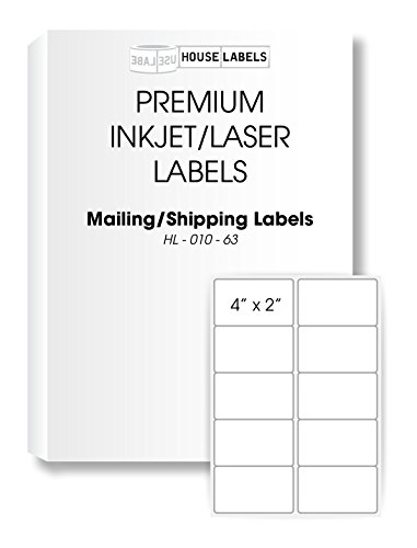 "HOUSELABELS 10 Up Shipping Labels (4"" x 2"") for Laser and Inkjet Printers, 400 Sheets / 4,000 Labels"