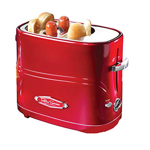 ACOMG Pop-Up Hot Dog Toaster Mini Breakfast Machine,Household Mini Hot Dog Machine,Bread/Sausage Maker Toast Furnace,Red Retro Look