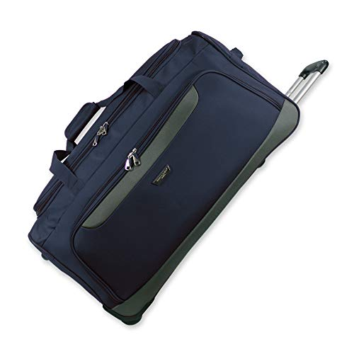 Lightweight Luggage Wheeled Trolley Holdall Suitcase Duffle Bag Rolling Hold Travel Bag AR306 (Medium - 28' (H72xW37xD36 cm), Navy)
