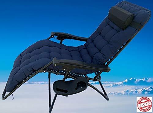 MLI Sedia gravità Zero Imbottita 94923B Sdraio da Giardino Blu Poltrona Gravity Relax Pieghevole Salvaspazio Tubolari Acciaio 24mm Reclinabile Tessuto in Textilene