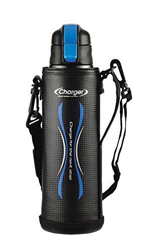 パール金属 水筒 1100ml 直飲み ステンレス ダイレクト ボトル ブルー×ブラック ポーチ付 NEWエナジーチャージャー HB-3062