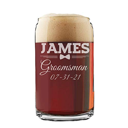 Personalized Beer Can Glasses - Groomsmen Wedding Party - Custom Engraved and Monogrammed