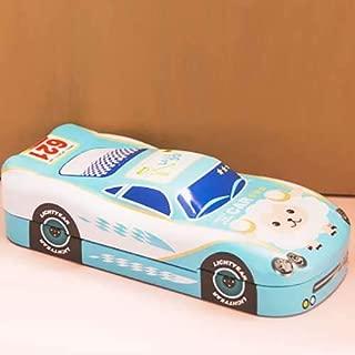 Light Blue Metal Pencil case Box in The Shape of a Race car