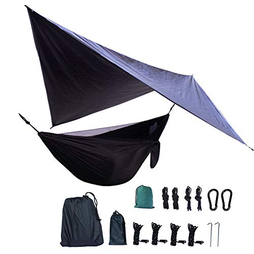 HEWYHAT Hamaca Rain Tent Tarp Camping portátil al Aire Libre con mosquitera, Tela de paracaídas, Soporte de 440 LB, Resistencia Adicional, Viaje con Mochila, Negro 106