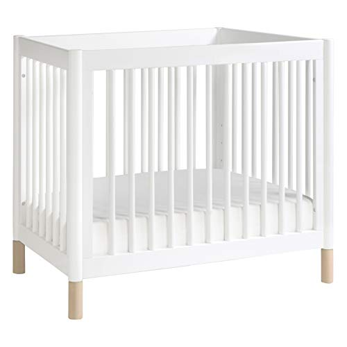 Babyletto Gelato 4-in-1 Convertible Mini Crib in White / Washed Natural, Greenguard Gold Certified