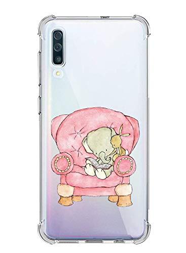 Oihxse Silicona Funda con Xiaomi Redmi 6 Pro/A2 Lite TPU Flexible Suave Transparente Protector Estuche Airbag Esquinas Reforzadas Ultra-Delgado Elefante Patrón Anti-Choque Caso (C3)