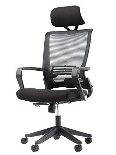Office Factor Mesh Back Office Chair with Headrest- Folding Office Chair- Ergonomic Chair for Office & Home- Task/Executive/Office Chair with Wheels- Quick Assemble Office Furniture Rated 250 Lbs