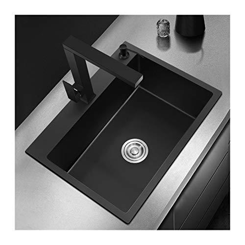 YWYW Fregadero de la Cocina Negro Individual Intestino Fregadero de Cocina Vegetal Lavado Fregadero de Cocina de Acero Inoxidable Negro mostrador del Lavabo Negro colador Fregadero (Color : 5343cm)