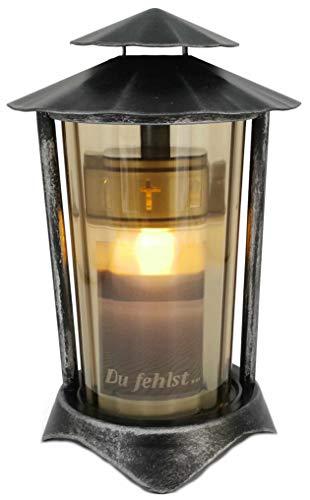 Grablaterne, Grableuchte aus Metall rund inkl. LED-Kerze 21 cm (Laterne: Aluminium - Glas: Bronze)
