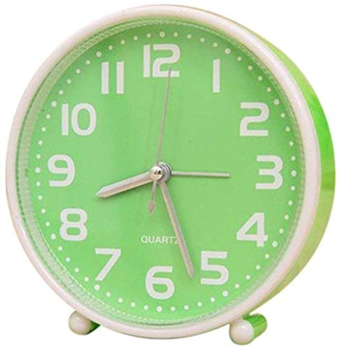 Reloj Despertador Reloj Despertador portátil sin tictac Reloj de Mesa de Color Caramelo de 5 Pulgadas con luz Nocturna Decoración de Escritorio para el hogar