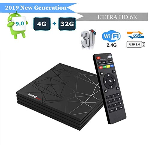 T95 MAX Android 9.0 TV Box, Smart Box Vídeo Reproductor Multimedia 4GB RAM 32GB ROM H6 Quad-Core Cortex-A53 Mali-T720MP2 Soporte 6K H.265 100M LAN Enternet 2.4GHz WiFi, Caja de Televisor con USB 3.0