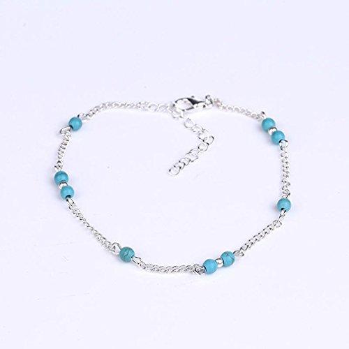 Pulsera de tobillo de imitación de perlas de turquesa hecha a mano tobillera de cadena de pie (Plata)