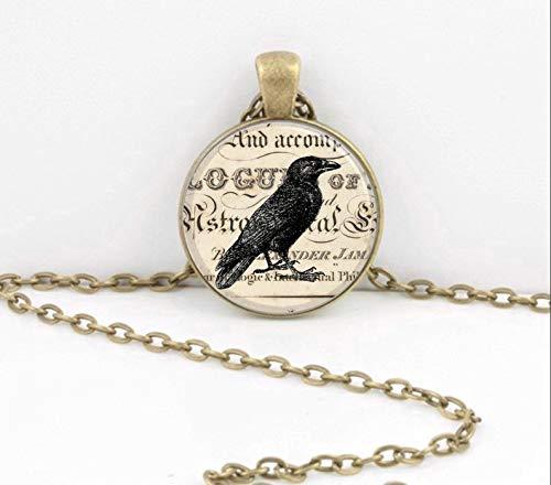 Bloody devil Colar com imagem de arte, Corvo Vintage Edgar Allan Poe Nevermore Colar com Pingente de Arte Inspiração Joia ou Chaveiro, Presente de Amor