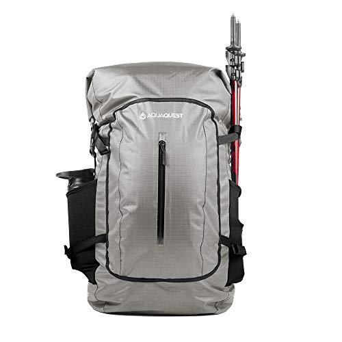 Aqua Quest Riparia Rucksack - 100% wasserdichte XL-Tasche 45L - für Strand, Kajak, Bootfahren, Camping, Wandern, Motorrad, Fahrrad - Grau