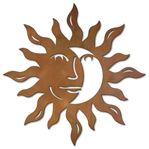 sun and moon face plaque