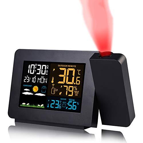 YQK Digital-Wecker, LED-Projektions-Wecker Wetter Clock Screen, Innen-und Außentemperatur und Luftfeuchtigkeit Wettervorhersage, Snooze Tabelle Dual-Alarm, 12h / 24h for Schlafzimmer, Büro