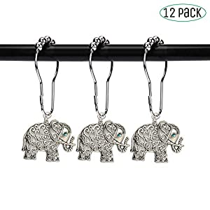 Elephant Bathroom Shower Curtain Hooks - Brushed nickel rings,rustproof decorative accessories set design for bath room curtain, kids room,condo,home,hotel (Antique silver, stainless steel, set of 12)
