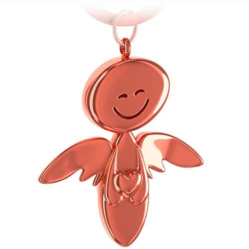 FABACH Schutzengel Schlüsselanhänger Smile mit Herz - Edler Engel Anhänger aus Metall in glänzendem Rosegold - Geschenk Glücksbringer Auto Führerschein - Fahr vorsichtig