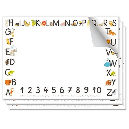 kizibi Juego de 3 blocs de escritorio para niños, 25 hojas DIN A2, base de papel, para colorear para niños, habitación de los niños, accesorios de escritorio