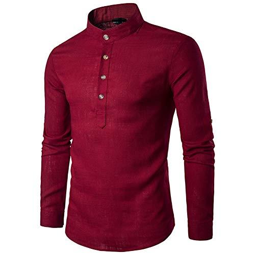 Mr.BaoLong&Miss.GO Herbst Neue Herren Freizeithemd Mode Europäische Größe Jugend Einfarbiges Hemd Langarm Stehkragen Leinenhemd
