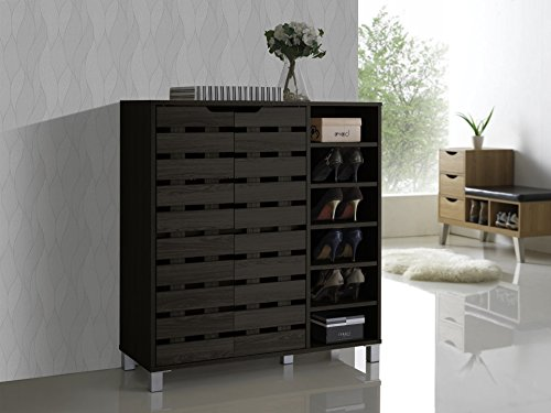 Baxton Studio Shirley Modern and Contemporary Wood 2-Door Shoe Cabinet with Open Shelves, Dark Brown