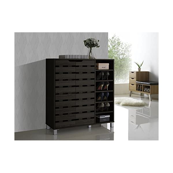 Baxton Studio Shirley Modern & Contemporary Wood 2-Door Shoe Cabinet with Open...