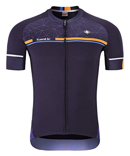 Santic Men's Cycling Jersey Short Sleeve Bike Shirts Quick-Dry Breathable Bicycle Tops