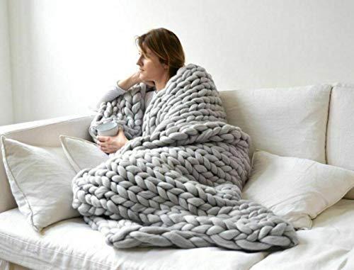 SHIYANTQ - Manta suave hecha a mano de lana gruesa para el hogar, gris claro, 100*150cm