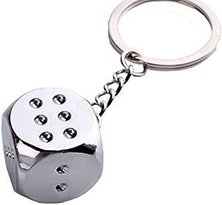 Key Case & Chains - Dice Pendant Key Chain Creative Metal Key Chains For Car Key Door Key - Dice Keychain Set Bulk Charms 20 Blue Purple Red Travel Metal - Pilot Automotive Rear View Mirror - 1PCs