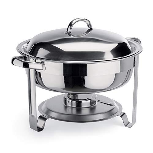 WAS 1460 350 Chromnickelstahl Chafng Dish mit Brennpastenbehältern, 3.5 ltr, Ø 30 cm, 27 cm Höhe