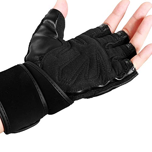 Miwaimao Fitness Guantes medio dedo guantes deportes al aire libre hombres y mujeres montar fitness,negro,S
