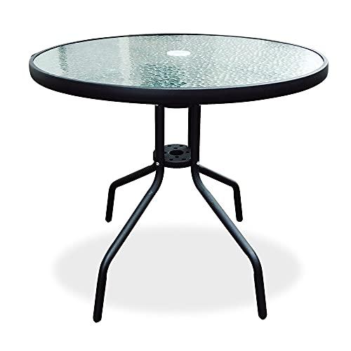 60 cm Diameter Glass Garden Table, Glass Patio Table