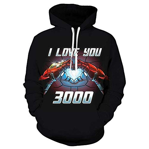 WGS Wunder-Film Ich Liebe Dich 3000 Gedruckter Iron Man Pullover Hoodie, Schwarz, L