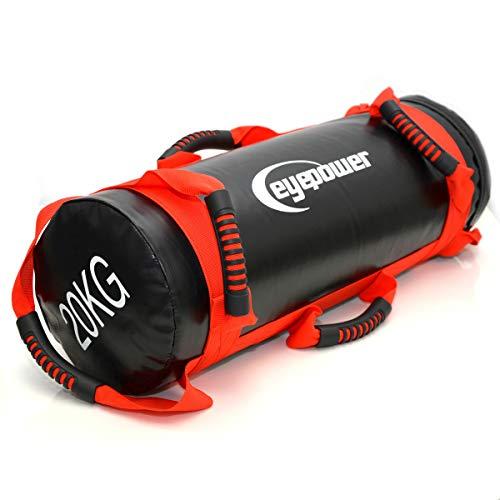 EYEPOWER 5-20kg Power Bag 20x60cm Saco de Arena para Entrenamiento con Pesa Rojo
