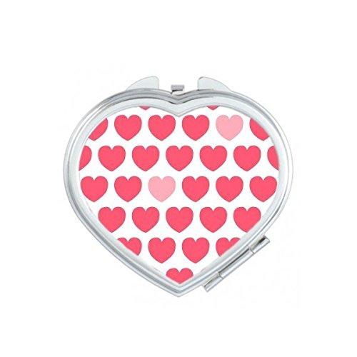 DIYthinker Rose Saint Valentin Coeur Rouge répétition des Taches Illustration à Base de Blanc Motif Coeur Maquillage Compact Miroir de Poche Portable Mignon Petit Miroirs Main