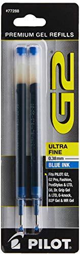 PILOT G2 Gel Ink Refills For Rolling Ball Pens, Ultra Fine Point, Blue Ink, 2-Pack (77288)