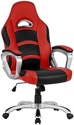 LANGRIA Fauteuil de Bureau Racing pour Gaming, Faux Cuir, Mécanisme d'Inclination (90-105 Degrés), Dossier Haut, Accoudoir, Repose-tête, Pivotant 360 Degrés, 120 kg de Capacité (Rouge et Noir)