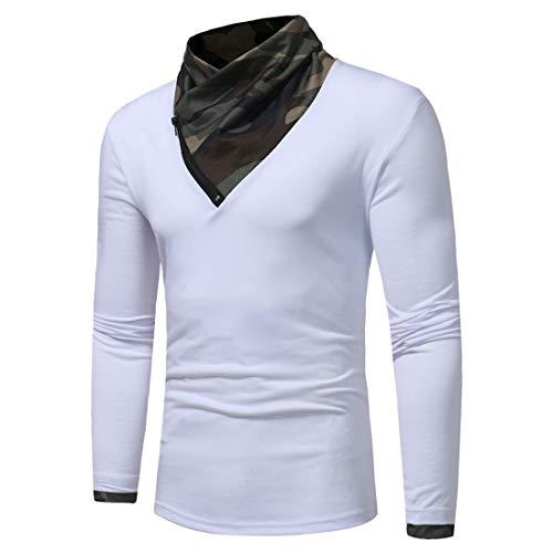 T-Shirt Men Top Men Sport Camouflage Stitching Fashion Men T-Shirt Autumn New Comfortable Fashion Design Elastic Fiber Slim Patchwork Men Top Trendy Men's Clothing A-White XXL