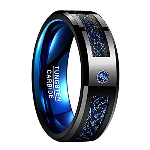Vakki Blauer und Schwarzer Wolfram Ring für Männer/Frauen, 8mm Ehering mit Drachenmuster und Zirkoneinlage Größe 52