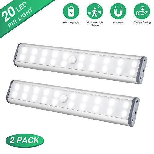 Schrankbeleuchtung LED Beleuchtung Kleiderschrank Lampen, Kabellose Wiederaufladbare Kabinenbeleuchtung, Bewegungssensor Magnetische, Kabinett Nachtlicht für Schranktisch, Kleiderschrank, Treppe usw
