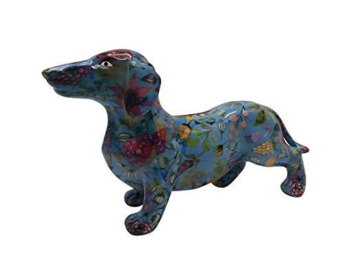 Pomme Pidou Spardose Dackel Frankie-blau Blumen-Hund-Sparbüchse-Sparschwein-Geldgeschenk-A