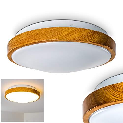 Bad Deckenleuchte in Holz-Optik - Deckenlicht für Badezimmer mit warmweißem Licht für gemütliche Atmosphäre - Badlampe Sora Wood mit modernem Holz-Dekor
