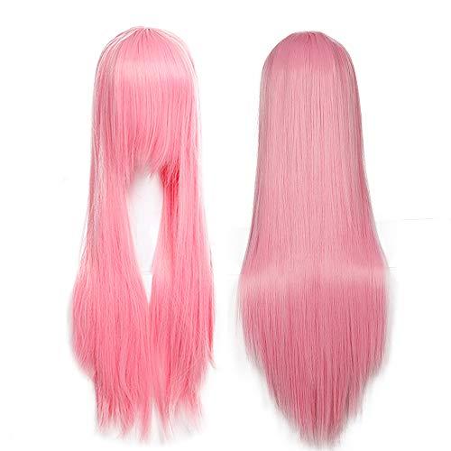 80cm SEGO Pelucas Rosas Anime Cosplay Mujer Largas con Flequillo Lisas Pelo Sintético Se Ve Natural para Disfraces Fietas Carnaval Halloween Synthetic Wigs (Rosa)