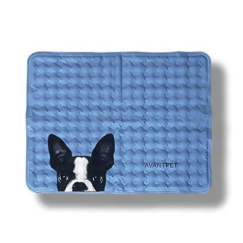 Avantpet Reversible Comfortable Pet Cooling Pads for Cats and Dogs, Cooling Gel pad, Pressure Activated Self Cooling Dog Sleeping Bed, Keep a Pet Cool on Hot Weather, M, Boston Terrier