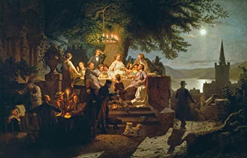 Kunstdruck/Poster: Christian Eduard Böttcher Sommernacht am Rhein - hochwertiger Druck, Bild, Kunstposter, 95x60 cm